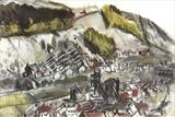 Example of earlier work ... Landscape ... Aberfan by Angela Edmonds, Drawing, Mixed media on paper