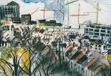 Example of earlier work ... Landscape ... Watford by Angela Edmonds, Drawing, mixed media on paper